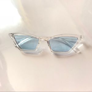 Other - Blue Clear Cat Eyes Vintage Retro Sunglasses